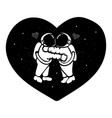 hand drawn astronaut couple hugging in the space w vector image vector image