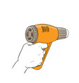 Hand holding hot blower vector image