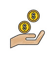 hand with coins dollar money finance icon vector image vector image