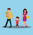 happy family dad mom and son are going home vector image vector image