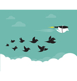 images birds and rockets in sky vector image