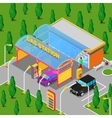 Isometric Gas Station with Cars and People vector image vector image