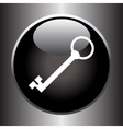Key icon on black button vector image vector image