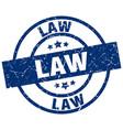 law blue round grunge stamp vector image