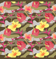 military seamless pattern with tropical flowers vector image