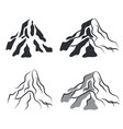 mountain icon silhouettes set vector image vector image
