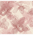 Orchid engraving seamless pattern on beige backgro vector image vector image