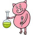 piglet on chemistry lesson vector image vector image
