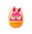 Pink Egg Shaped Easter Bunny In Basket vector image