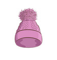 realistic knitted hat with a pompon women fashion vector image vector image