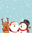 santa reindeer and snowman enjoying snow vector image vector image