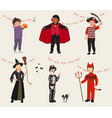 set cartoon kids in halloween party costume vector image