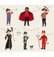 Set cartoon kids in halloween party costume