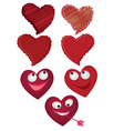 set of hearts the valentines day vector image vector image