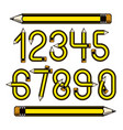 set of numbers constructed with sharp pencils vector image