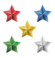 Set of precious stars isolated objects vector image vector image