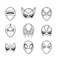 Set of super hero masks in linear style vector image