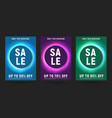 set posters for sale with glowing neon circle vector image vector image