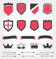 Set shields heraldic crowns ribbons arrows vector image