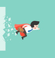 super businessman flying through a glass business vector image