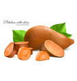 sweet potatoes with slices vector image