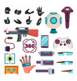 virtual reality icons set virtual reality vector image vector image