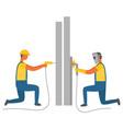 welding and drilling character builders handymen vector image