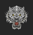 white tiger beast head mascot vector image