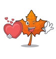 with heart red maple leaf mascot cartoon vector image