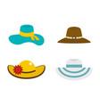 woman hat icon set flat style vector image vector image