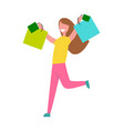 woman rerning from shopping vector image vector image