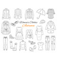 women s clothes collection sketch vector image vector image