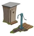 wooden toilet and water pump isolated vector image