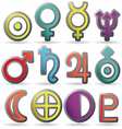 zodiac and astrology symbols planets vector image vector image