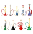 Set of hookah with pipe for smoking tobacco vector image