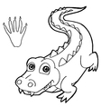 paw print with crocodile Coloring Page vector image