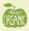100 organic on a green apple vector image vector image