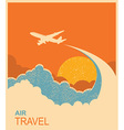 Airplane flying in sky air travel background vector image