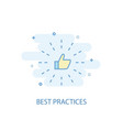best practices line concept simple line icon vector image vector image