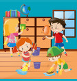 boys and girls cleaning room together vector image vector image