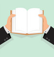 businessman hands open book vector image vector image