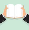 businessman hands open book vector image