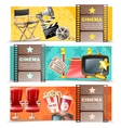 Cinema Movie 3 Horizontal Retro Banners vector image
