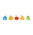 colorful christmas balls set collection vector image vector image