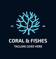 coral and fishes logo vector image vector image
