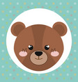 cute bear head tender character vector image
