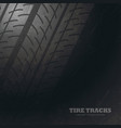 dark background with tire tracks marks vector image vector image