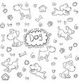 doodle dog pattern hand draw vector image vector image