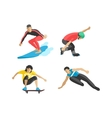 drawing jumping and climbing men extreme vector image vector image