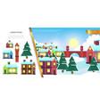 flat winter town landscape concept vector image vector image